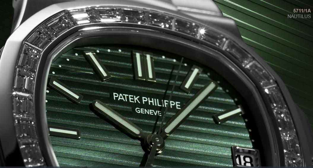 Patek Philippe  5711/1A quadrante verde oliva e lunetta con diamanti