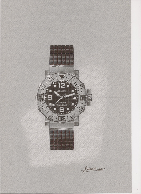 Paul Picot Plongeur C-Type – 18° Anniversary Black Phantom - disegno